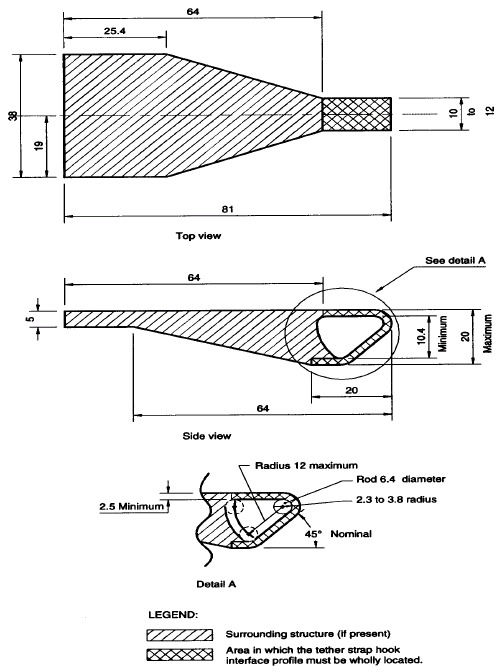 Diagram showing Interface Profile of Tether Strap Hook with measurements and descriptions