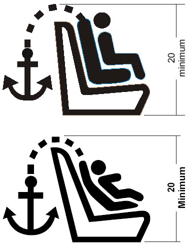 Diagram showing Symbol Used to Identify the Location of a User-ready Tether Anchorage That Is under a Cover with a symbol of a child in a child seat and an anchor attached to the top of the child seat.
