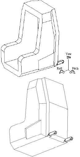 Diagram showing Three-dimensional Schematic Views of Child Restraint Fixture