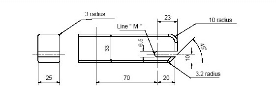 Diagram showing Rear and Side View of Checking Device for Lower Universal Anchorage System — Envelope Dimensions with measurements and description.