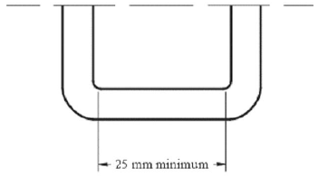 Diagram showing Width of Lower Universal Anchorage Bar, Top View with measurement.