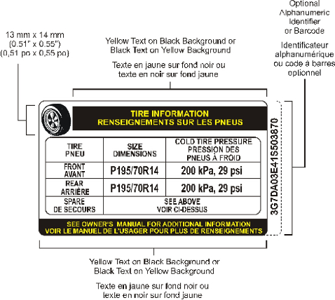 Figure showing a bilingual example of a tire inflation pressure label displaying the information required by paragraph 110(2)(a).