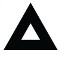 Symbol showing, in silhouette, an equilateral triangle at the centre of which is a small empty space also in the shape of an equilateral triangle.
