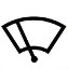 Symbol showing, in contour, a windshield on which is an oblique line representing a wiper blade.