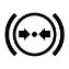 Symbol showing, in contour, between parentheses, a circle containing two horizontal arrows converging towards a point at the center of the circle.