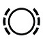 Symbol showing, in contour, a circle between dotted parentheses.