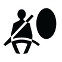 Symbol showing, in silhouette, the front view of a person who is wearing a seatbelt and sitting to the left of a vertical ellipse.