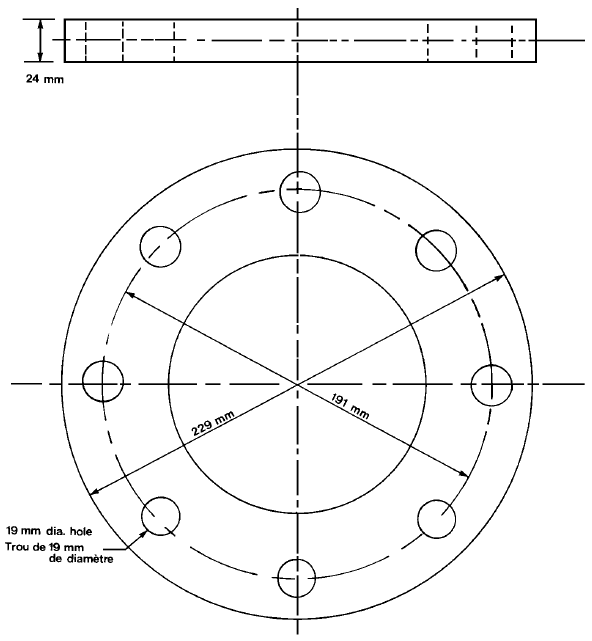 Illustration and dimensions for bunkering station flange