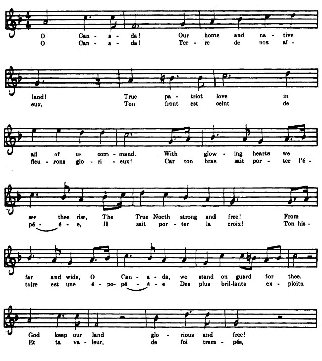 Paroles et musique de l'hymne national du Canada