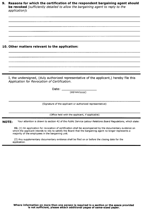 Continued Form 5 (Section 36) Application for Revocation of Certification
