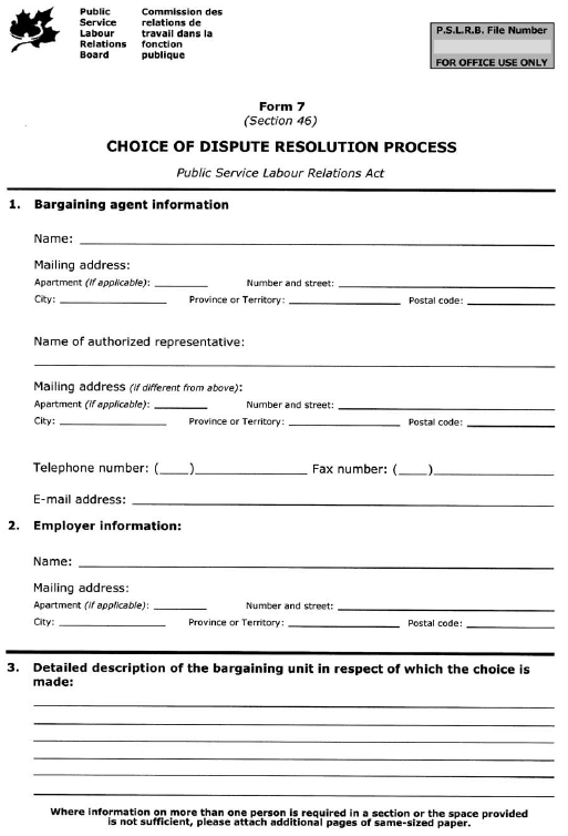 Form 7 (Section 46) Choice of Dispute Resolution Process