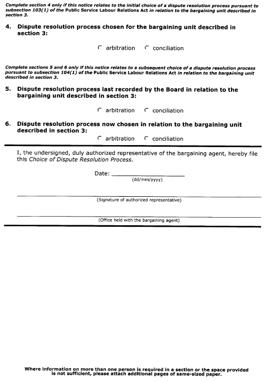 Continued Form 7 (Section 46) Choice of Dispute Resolution Process
