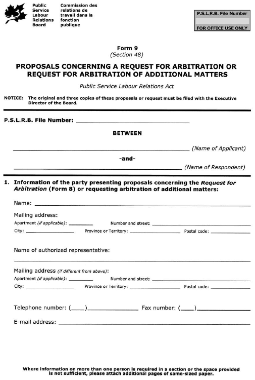 Form 9 (Section 48) Proposals Concerning a Request for Arbitration or Request for Arbitration of Additional Matters