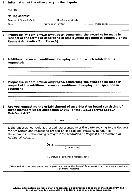 Continued Form 9 (Section 48) Proposals Concerning a Request for Arbitration or Request for Arbitration of Additional Matters