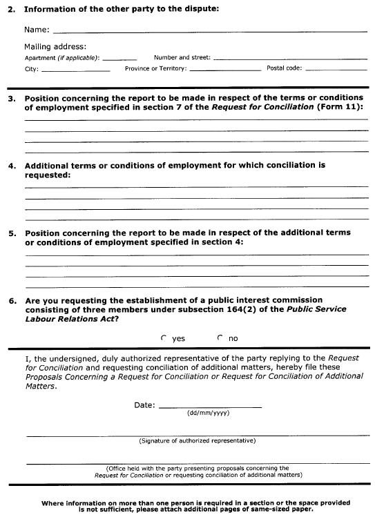 Continued Form 12 (Section 52) Proposals Concerning a Request for Conciliation or Request for Conciliation of Additional Matters