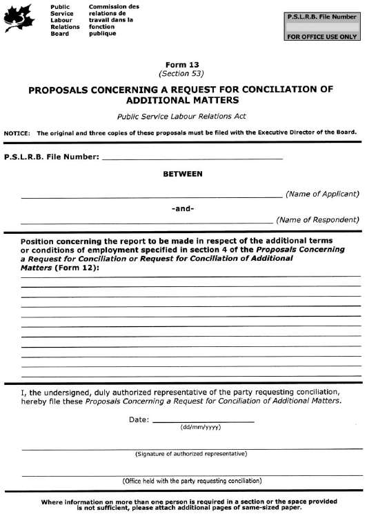 Form 13 (Section 53) Proposals Concerning a Request for Conciliation of Additional Matters