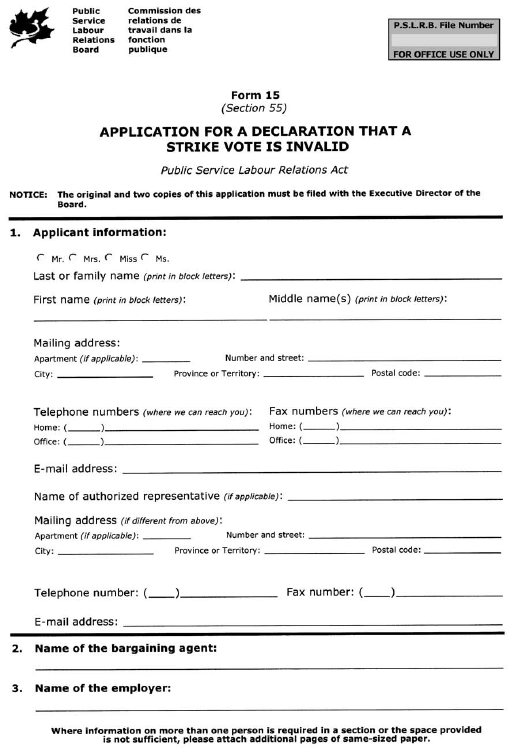 Form 15 (Section 55) Application for a Declaration that a Strike Vote is Invalid