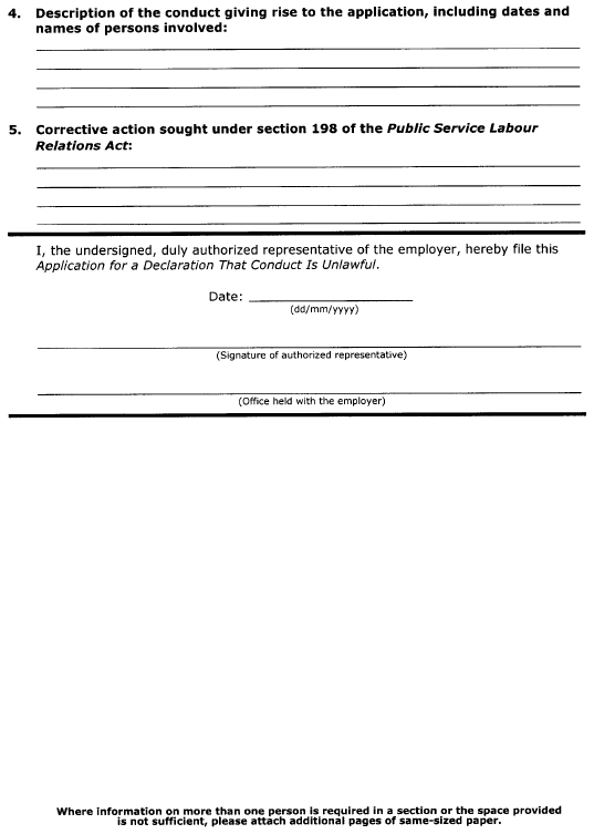 Continued Form 17 (Section 58) Application for a Declaration that Conduct is Unlawful