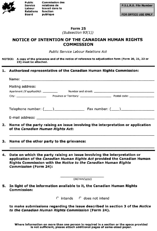 Form 25 (Subsection 93(1)) Notice of Intention of the Canadian Human Rights Commission